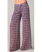 Elizabeth And James Evelyn Wide-Leg Printed Silk-Crepe Pants - Lyst