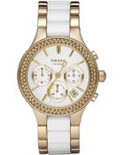 DKNY Medium Ceramic & Stainless Steel Crystal Bezel Watch - Lyst