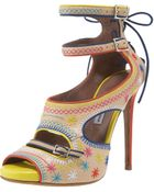 Tabitha Simmons Embroidered Ankle-strap Platform Sandal - Lyst