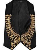 Balmain Embellished Woven Cotton Vest - Lyst