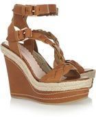 Mulberry Leather Wedge Sandals - Lyst