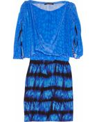 Roberto Cavalli Printed Ruched Silk Crepe De Chine Dress - Lyst