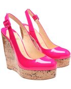 Christian Louboutin Altike Patent Leather and Cork Platform Wedges - Lyst