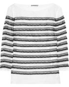 Nina Ricci Striped Linen and Lace Top - Lyst