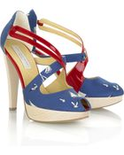 Stella McCartney Nautical Patent Faux Leather and Canvas Platform Sandals - Lyst