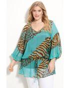 Alberto Makali Silk Animal Print Tunic with Camisole - Lyst