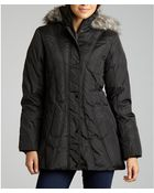 London Fog Black Down and Faux Fur Hooded Jacket - Lyst