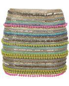 Matthew Williamson Pom Pom Embellishment Mini Skirt - Lyst