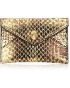 Alexander McQueen Metallic Skull Card Holder - Lyst
