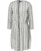 Tibi Silver Grey Drawstring Silk Dress - Lyst