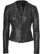 Donna Karan New York Black Hand Stitched Leather Jacket - Lyst