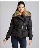 Moncler Black Quilted Virginia Belted Down Jacket - Lyst