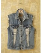 Free People Vintage Custom Denim Vest - Lyst