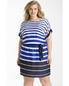 DKNY Belted Stripe Dress - Lyst