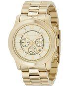 Michael Kors Men'S Chronograph Runway Gold-Tone Stainless Steel Bracelet Watch 44Mm Mk8077 - Lyst