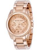 Michael Kors Women'S Chronograph Blair Rose Gold-Tone Stainless Steel Bracelet Watch 41Mm Mk5263 - Lyst
