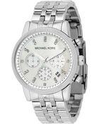 Michael Kors Women'S Chronograph Ritz Stainless Steel Bracelet Watch 36Mm Mk5020 - Lyst