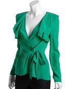 BCBGMAXAZRIA Emerald Silk Wrap Ruffle Blouse - Lyst