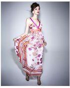 Alberta Ferretti Sleeveless V Neck Floral Printed Maxi - Lyst
