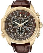 Citizen Men'S Chronograph Eco-Drive Dark Brown Leather Strap Watch 43Mm Bl5403-03X - Lyst