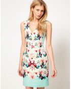 Oasis Oasis Dress with Mirrored Floral Print - Lyst