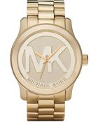 Michael Kors Women'S Runway Gold Plated Stainless Steel Bracelet Watch 45Mm Mk5473 - Lyst