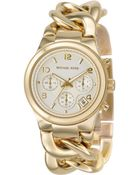 Michael Kors Women'S Chronograph Runway Twist Gold Ion-Plated Stainless Steel Bracelet Watch 38Mm Mk3131 - Lyst