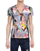 John Galliano Gazette Print Jersey V Neck T-shirt - Lyst
