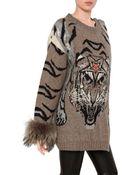 Philipp Plein Fox Fur Tiger Jacquard Wool Knit Coat - Lyst