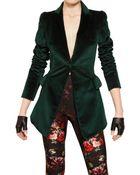 Alexander McQueen Cotton Velvet Jacket - Lyst
