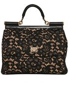 Dolce & Gabbana Miss Sicily Lace Leather Top Handle - Lyst