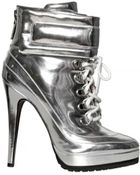 Blumarine 120mm Mirrored Lace Up Boots - Lyst