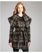 Rachel Zoe Black and Tan Wool Blend Wrap Collar Tweed Coat - Lyst