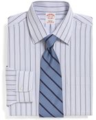 Brooks Brothers Supima Cotton Noniron Regular Fit Alternating Triple Stripe Dress Shirt - Lyst