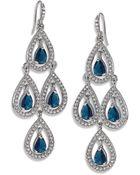 Carolee Silver-Tone Pave Pear Chandelier Earrings - Lyst