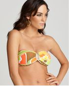 Trina Turk Swimwear Lavascape Buckle Front Bandeau - Lyst