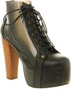 Jeffrey Campbell Cleata Ankle Platform Bt Black Leather - Lyst