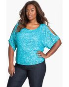 J Kara Sequin Cold Shoulder Top - Lyst