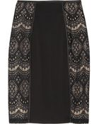 Alice By Temperley Dita Lace Paneled Jersey Skirt - Lyst