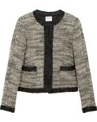 Armani Satin Trimmed Bouclé Wool Blend Jacket - Lyst