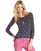 Free People Long Sleeve Scoop Neck Multi Colored Knit - Lyst