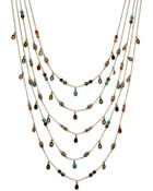 Lauren by Ralph Lauren 14k Gold Plated Multibead Fiverow Necklace - Lyst