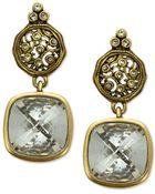 T Tahari 14K Gold Plated Essentials Crystal Scroll Drop Earrings - Lyst