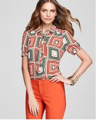 Vince Camuto Short Sleeve Tie Neck Patched Zig Zag Blouse - Lyst