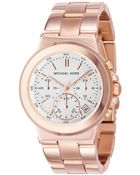 Michael Kors Chronograph Dylan Rose Gold Tone Stainless Steel Bracelet Watch  - Lyst