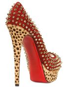 Christian Louboutin 150mm Lady Peep Leopard Spikes Pumps - Lyst