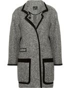 Isabel Marant Khan Suede Trimmed Bouclé Wool Blend Coat - Lyst