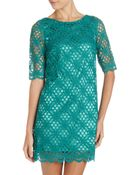 Jax Aline Crochet Dress Emerald 12 - Lyst