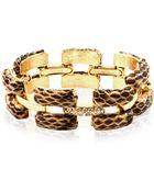Anne Klein Gold Tone Snake Leather Link Flex Bracelet - Lyst