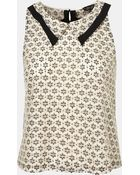 Topshop Collared Lace Tank - Lyst